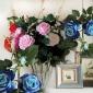 厂家直销 三头开心玫瑰仿真花 客厅装饰 绒布玫瑰 婚庆花墙装饰
